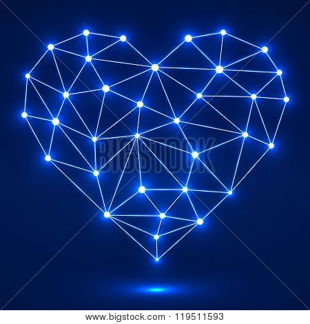 Geometric heart with glowing dots and lines network connections