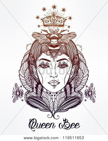 Queen Bee portriat as a woman vector art.