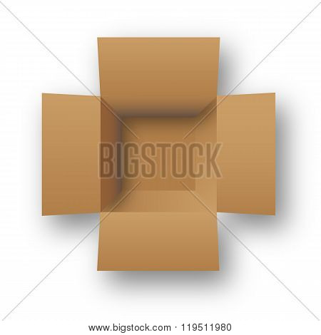 Opened cardboard package box