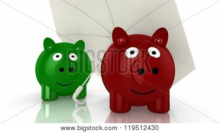 Two Piggy Banks Hiding Under An Umbrella