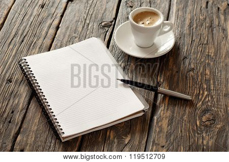 Open Notebook With Blank Pages And Pen With Coffee Espresso
