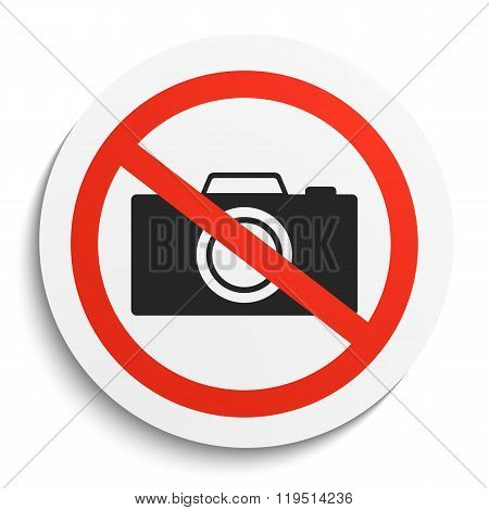 No Photos Prohibition Sign on White Round Plate. No Photo Camera forbidden symbol. No Photos Vector Illustration on white background