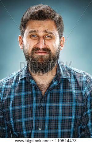 The crying man closeup