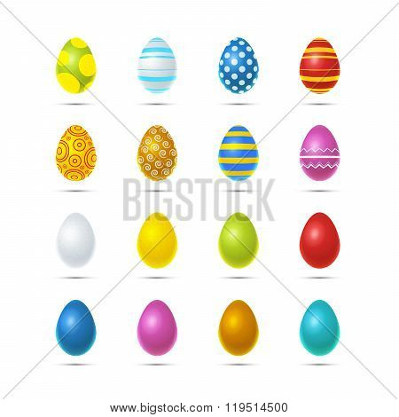 Set Of Sixteen Bright Colourful Easter Eggs On White