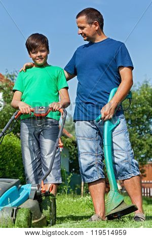 Father And Son Ready For Some Lawn Mowing