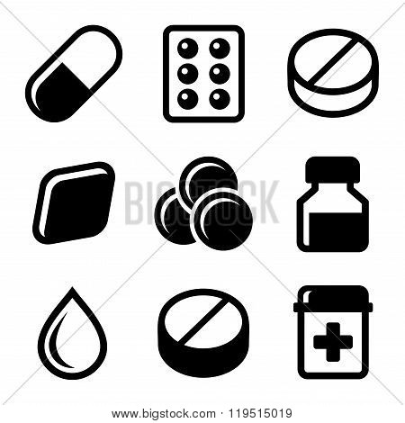 Pills, Vitamin and Capsules Icons Set. Vector
