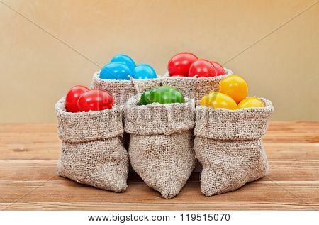 Easter Symbols - Colorful Easter Eggs On Golden Background