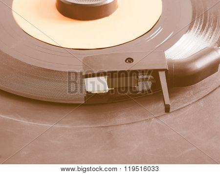 Vinyl Record On Turntable Vintage