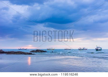SUnset at Khao Lak beach in Thailand