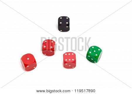 Old Plastic Multi Colored Six-sided Dice With Rounded Corners