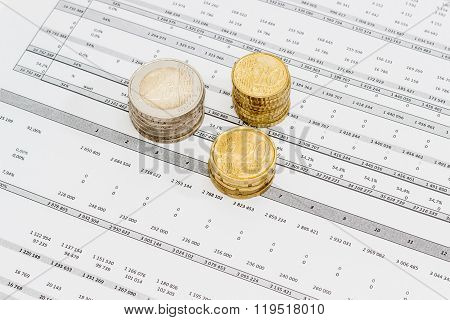 Euro Coins Different Denominations Stacked On The Data Table