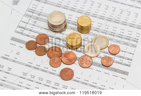 Euro Coins Different Denominations On The Data Table