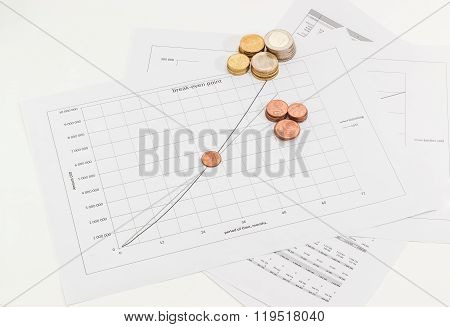 Euro Coins On The Line Chart And The Data Table