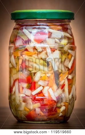 Jar of sliced pickled vegetables