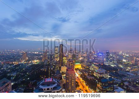 Bangkok Glowing Cityscape At Dusk With Scenic Sky