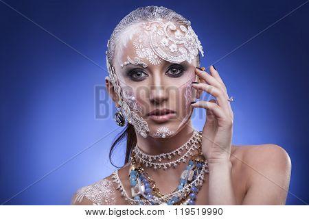 Woman With Extravagant Bridal Make Up