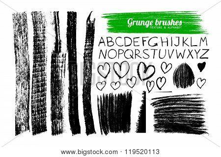Set Of Grunge Brushes And Alphabet