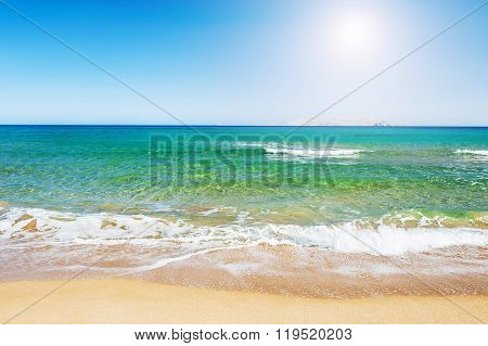Tropical Beach With Turquoise Water And White Sand.
