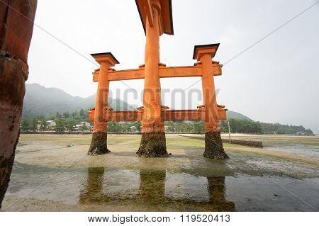 beyond Floating Torii gate in Miyajima, Japan