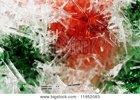 Closeup of red & green ice crystals with very shallow DOF