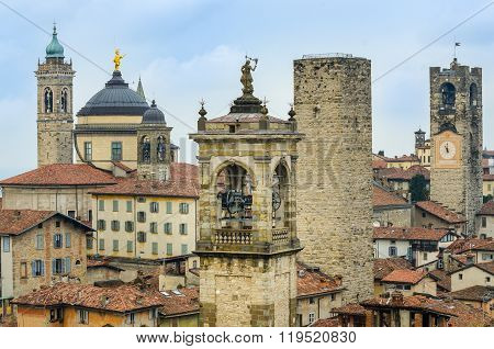 Scenic View Of Towers And Roofs In Old Town Bergamo