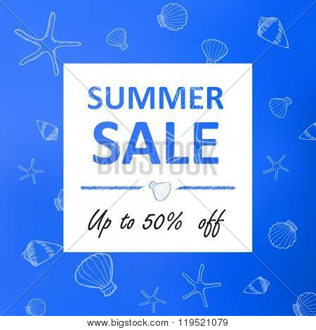 Summer  sale banner ocean shells