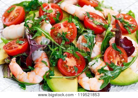 Sea Food salad with Shrimp, avocado and vegetables
