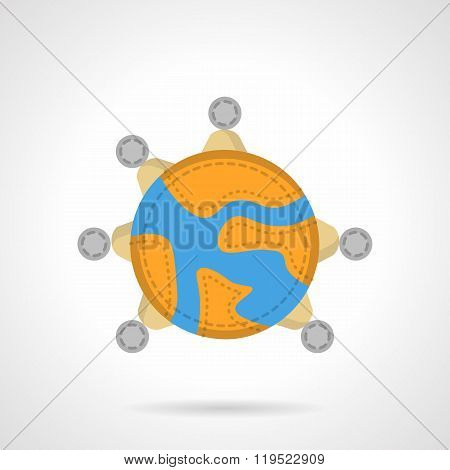 Global connection flat color vector icon