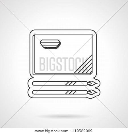 Painting album and brushes flat line vector icon