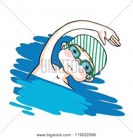 Swim the crawl boy color vector drawing.