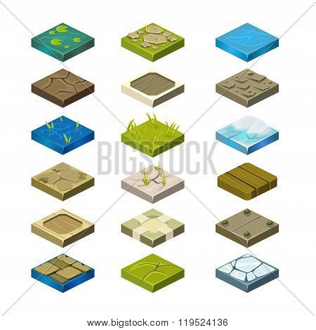 Isometric Vector Platforms Set