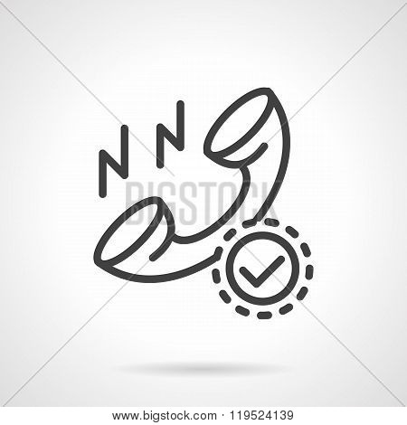 Order by phone black line design vector icon