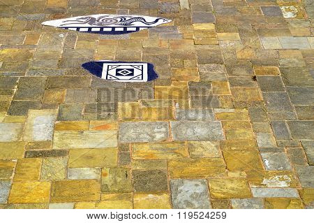 Chester City paving slabs in the Roman garden