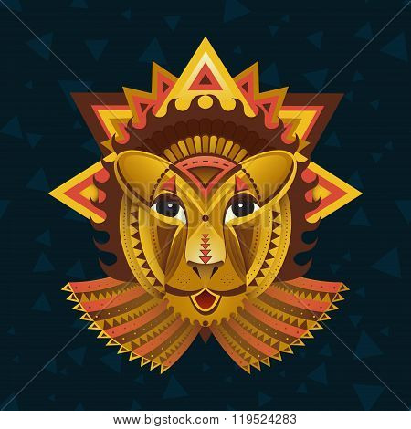 Geometric face of lion builded from circles, triangles and other shapes. Flat geometric lion. Creati