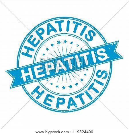 Hepatitis grunge blue stamp