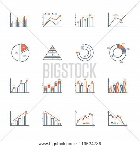 Graphs And Charts Icons Set