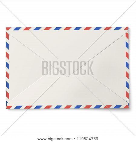 Sealed Air Mail White Envelope Isolated On White Background