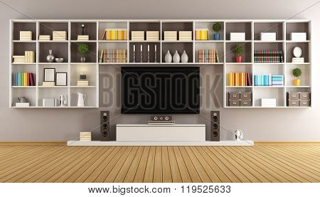 Modern Lounge With Bookcase And Television