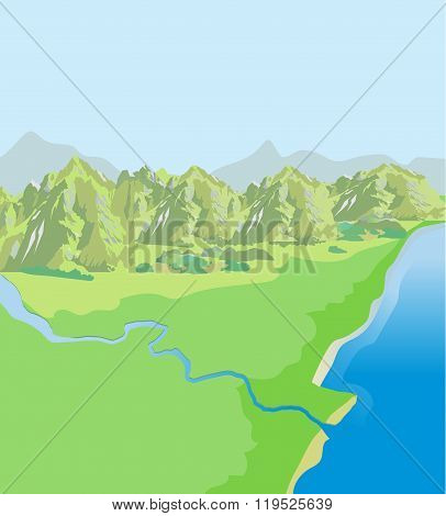 Mountains Landscape. Green Valley. Top View. Vector Background. Landscape Drawing. Landscape Pictures. Landscape Definition. Landscape Vector. Landscape Mountains. Sun Day. Landscape Ideas.