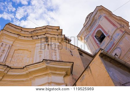 Architecture Details Of Roman Church In Historical Town Of Italy