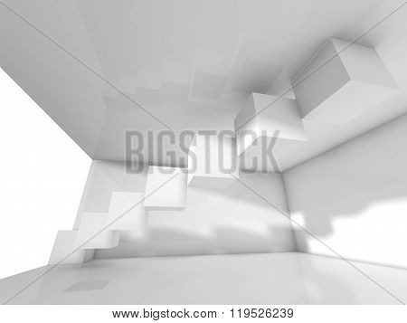Abstract Modern White Interior Design With Cubes