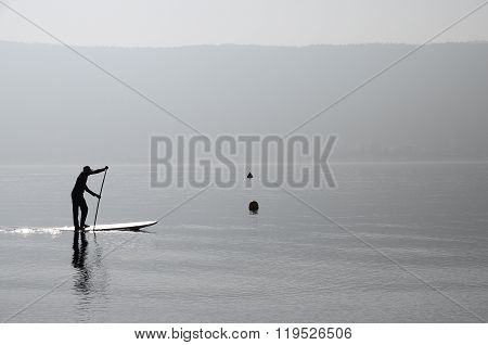 Paddle Man Rowing On Annecy Lake