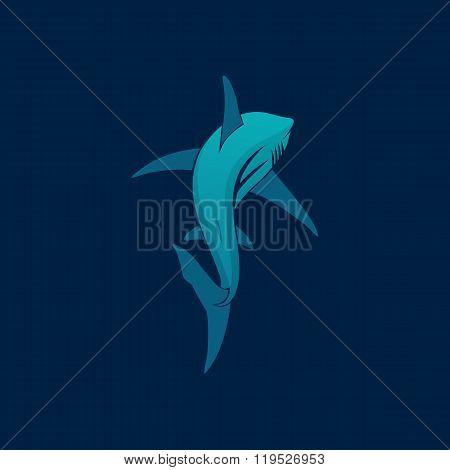 Shark Sailing Far Away Logo Sign On Dark Blue Background Vector Illustration