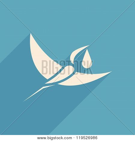Stork And Baby Logo Sign Blue Background  Vector Illustration