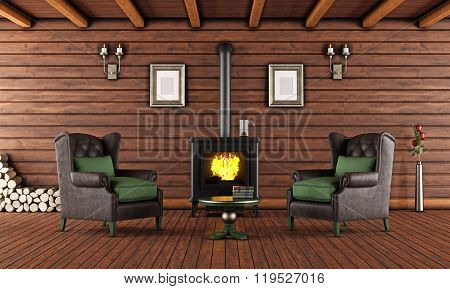 Wooden House With Cast Iron Fireplace