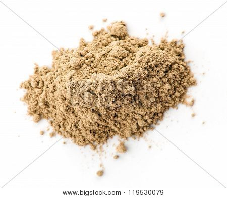 Maca Powder On White Backgroun, Top View