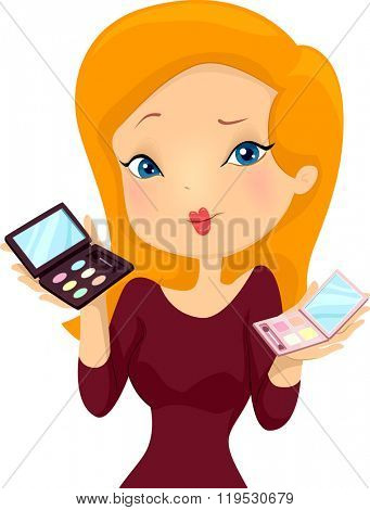 Illustration of a Girl Presenting Two Sets of Make Up Palettes to a Customer
