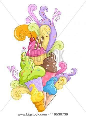 Illustration of Different Ice Cream Flavors