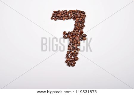 Number Seven From Coffee Beans Isolated On White Background. Love Coffee. Morning Pleasure