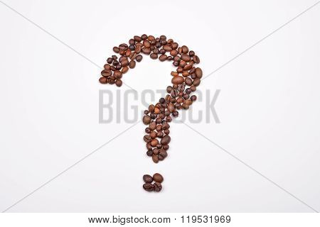 Coffee Beans Arranged In The Shape Of A Question Mark On White. Loving Smell And Taste Of Coffee.
